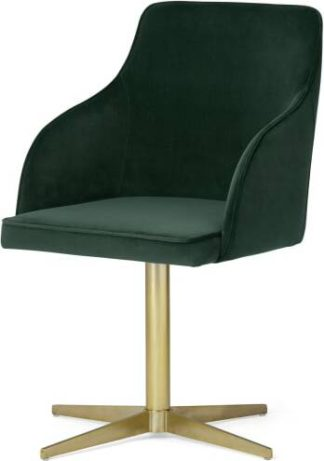An Image of Keira Office Chair, Pine Green Velvet & Brass