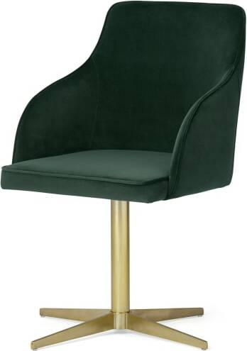 An Image of Keira Office Chair, Pine Green Velvet & Brass