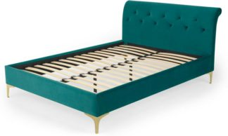 An Image of Linnell Double Bed, Seafoam Blue Velvet & Brass