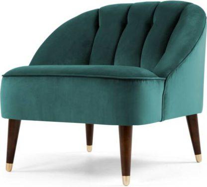 An Image of Margot Accent Armchair, Peacock Blue Velvet