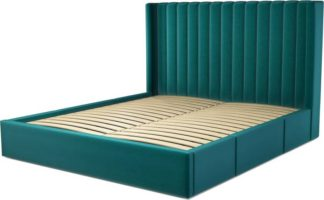 An Image of Custom MADE Cory Super King size Bed with Drawers, Tuscan Teal Velvet