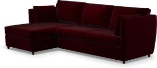 An Image of Milner Left Hand Facing Corner Storage Sofa Bed with Foam Mattress, Shiraz Burgundy Velvet