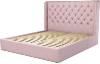 An Image of Custom MADE Romare Super King size Bed with Drawers, Tea Rose Pink Cotton