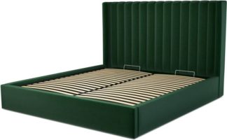 An Image of Custom MADE Cory Super King size Bed with Ottoman, Bottle Green Velvet