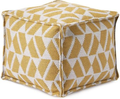 An Image of Oblique Square Pouffe, Yellow & Grey