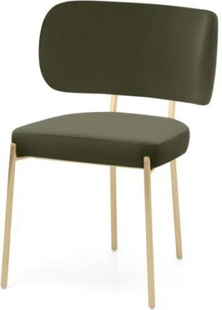 An Image of Asare Dining Chair, Sycamore Green Velvet & Brass Leg