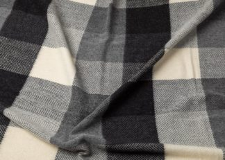 An Image of Heal's Merino & Cashmere Check Throw Black and White