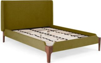 An Image of Roscoe Double Bed, Olive Green & Dark Stain Oak Legs