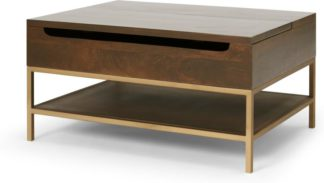 An Image of Lomond Lift Top Coffee Table with Storage, Dark Mango Wood & Brass