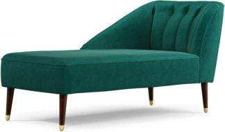 An Image of Margot Left Hand Facing Chaise Longue, Teal Cotton Velvet with Dark Wood Brass Leg
