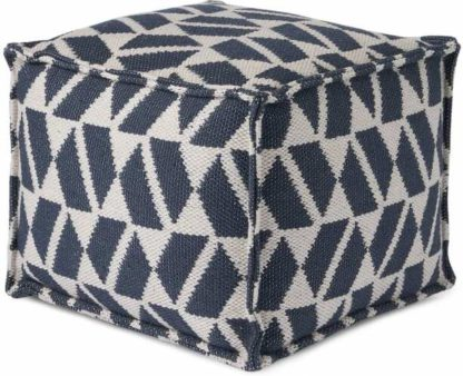 An Image of Oblique Square Pouffe, Teal Blue & Grey