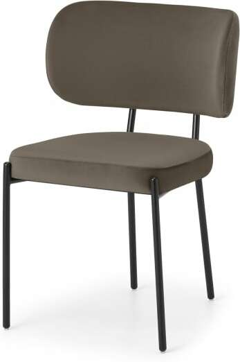 An Image of Asare Dining Chair, Latte Velvet with Black Leg