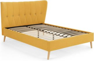 An Image of Charley Double Bed, Yolk Yellow & Oak Stain Legs