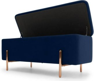 An Image of Asare 110cm Upholstered Ottoman Storage Bench, Royal Blue Velvet and Copper