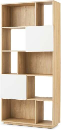An Image of Hopkins Narrow Bookcase, Oak Effect & white