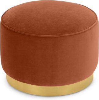 An Image of Hetherington Large Brass Base Pouffe, Nutmeg Orange Velvet