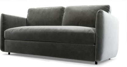 An Image of Fletcher 3 Seater Sofabed with Pocket Sprung Mattress, Steel Grey Velvet