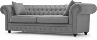 An Image of Branagh 3 Seater Chesterfield Sofa, Pearl Grey