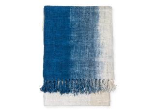 An Image of Original Home Handwoven Gradient Cotton Throw Indigo 135 x 200cm