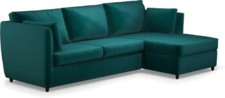 An Image of Milner Right Hand Facing Corner Storage Sofa Bed with Memory Foam Mattress, Tuscan Teal Velvet