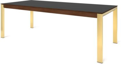 An Image of Custom MADE Corinna 10 Seat Dining Table, Grey HPL and Brass