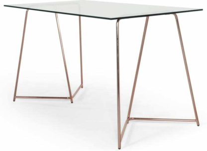 An Image of Patrizia Desk, Copper and Clear Glass