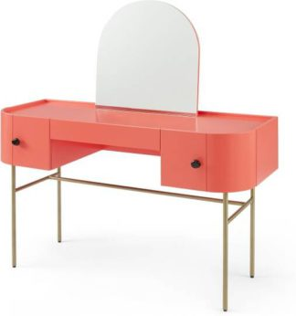 An Image of Tandy Dressing Table, Coral Pink with Gloss Black Handles & Brass Legs