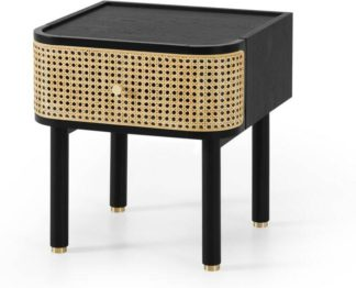 An Image of Ankhara Bedside Table, Rattan & Black Stain Oak