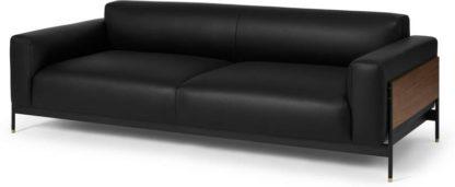 An Image of Presley 3 Seater Sofa, Denver Black Leather