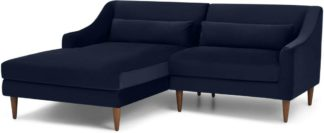 An Image of Herton Left Hand Facing Small Chaise End Sofa, Ink Blue Velvet