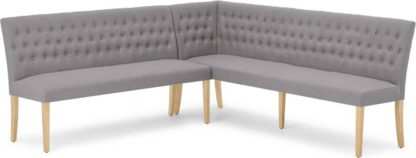 An Image of Flynn Left Hand Facing Corner Dining Bench, Graphite Grey with Birch Legs