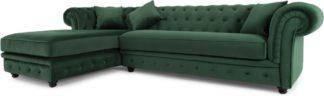 An Image of Branagh Left Hand Facing Chaise End Corner Sofa, Pine Green Velvet