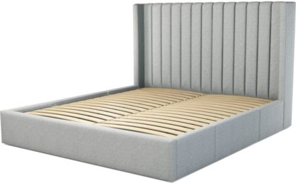 An Image of Custom MADE Cory Super King size Bed with Drawers, Wolf Grey Wool