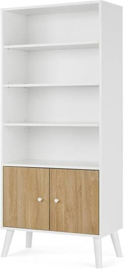 An Image of Larsen Shelving Unit, Oak Effect & White