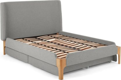 An Image of Roscoe Super King Size Bed With Storage Drawers, Cool Grey & Oak Legs