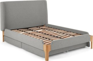 An Image of Roscoe Double Bed With Storage Drawers, Cool Grey & Oak Legs