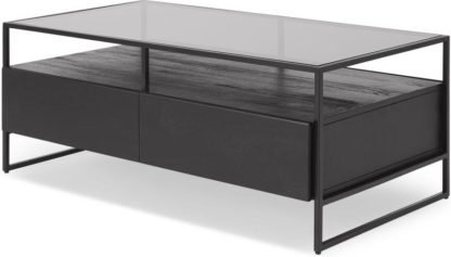 An Image of Kilby Storage Coffee Table, Black Stained Mango Wood and Smoked Glass