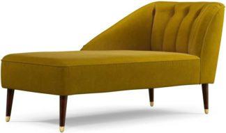 An Image of Margot Left Hand Facing Chaise Longue, Antique Gold Cotton Velvet with Dark Wood Brass Leg