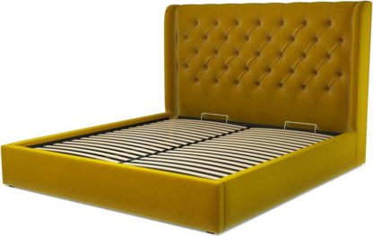 An Image of Custom MADE Romare Super King size Bed with Ottoman, Saffron Yellow Velvet