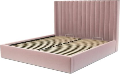An Image of Custom MADE Cory Super King size Bed with Ottoman, Heather Pink Velvet