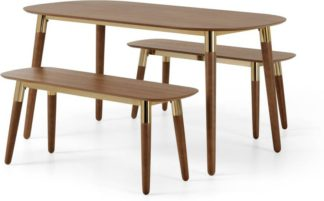 An Image of Edelweiss Dining Table and Bench Set, Walnut & Brass