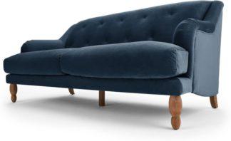 An Image of Ariana 3 Seater Sofa, Sapphire Velvet