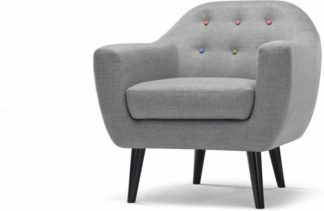 An Image of Ritchie Armchair, Pearl Grey with Rainbow Buttons