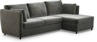 An Image of Milner Right Hand Facing Corner Storage Sofa Bed with Memory Foam Mattress, Steel Grey Velvet