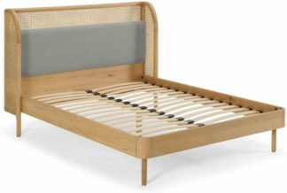 An Image of Ankhara King Size Bed, Rattan & Oak, Cool Grey