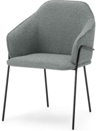 An Image of Stanley Carver Dining Chair, Steel Boucle & Black