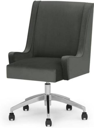 An Image of Higgs Office Chair, Steel Grey Velvet