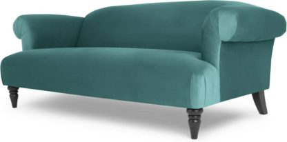An Image of Claudia 3 Seater Sofa, Peacock Blue Velvet