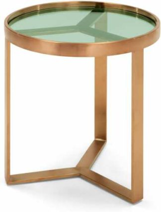 An Image of Aula Side Table, Brushed Copper & Green Glass