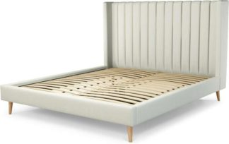 An Image of Custom MADE Cory Super King size Bed, Putty Cotton with Oak Legs